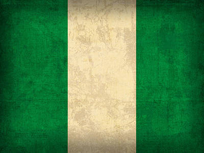 Pride Mixed Media - Nigeria Flag Vintage Distressed Finish by Design Turnpike