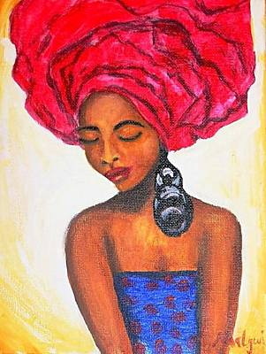 African Woman Painting - Nigerian Bride by Mbwidiffu Malgwi