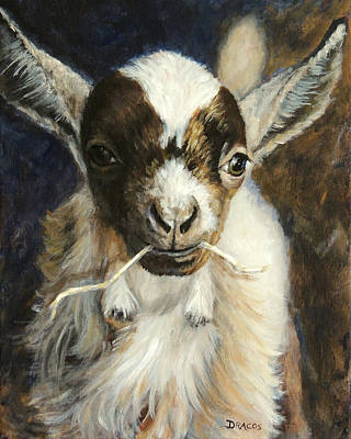 Goat Painting - Nigerian Dwarf Goat With Straw by Dottie Dracos