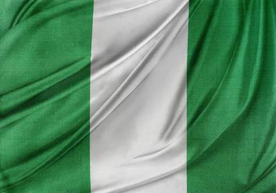 Nigerian Flag Art Print by Les Cunliffe