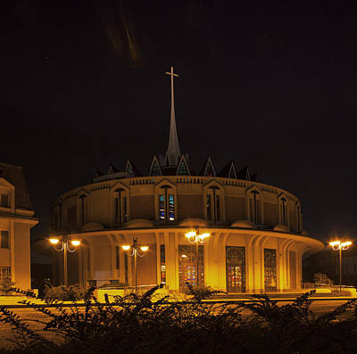 Photograph - Night Photo Of  Roman-catholic Church In Iasi - Romania by Vlad Baciu