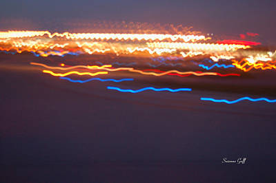 Abstract Digital Light Trails Photograph - Night Abstract Iv by Suzanne Gaff