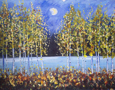 Night Aspens  Art Print