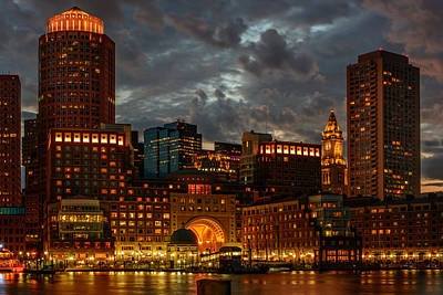 Photograph - Night At Boston Harbor by Ludmila Nayvelt