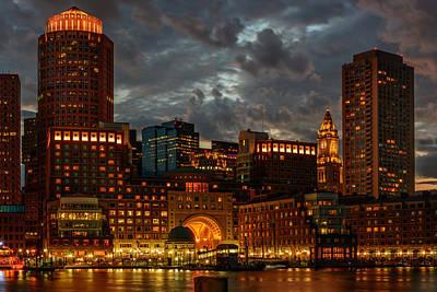 Photograph - Night At Boston Harbor by Ludmila Nayvelt