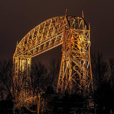 Duluth Photograph - Night At Duluth Aerial Lift Bridge by Paul Freidlund