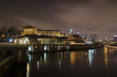 Waterworks Digital Art - Night At Fairmount Waterworks And The Philadelphia Art Museum by Bill Cannon