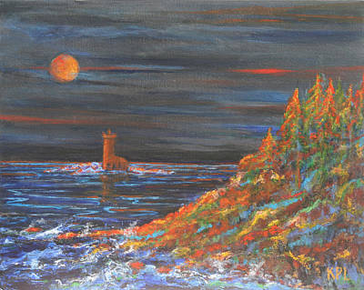 Sea Moon Full Moon Painting - Night At Mohawk Lighthouse   by Kathy Peltomaa Lewis