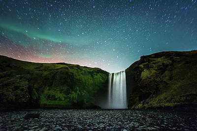 Photograph - Night At Skógafoss by Naphat Photography
