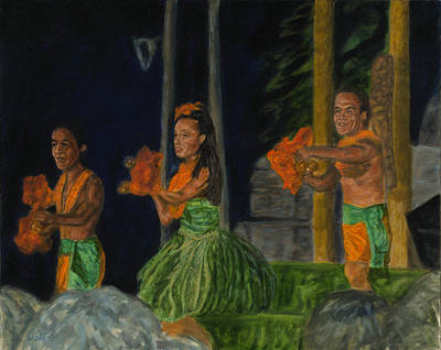 Painting - Night At The Luau by Michael Allen Wolfe