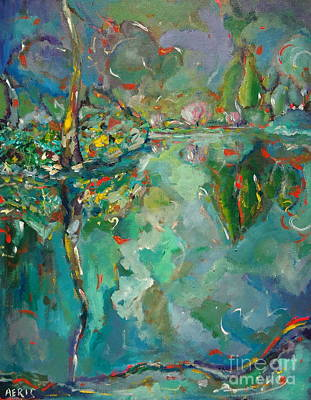 British Columbia Drawing - Night At The Pond In Butchart Gardens Victoria Bc Canada by Aeris Osborne