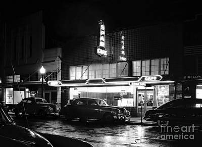Photograph - Night At The Spar Cafe At Night 1950 by Merle Junk