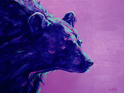 Alaska Scene Painting - Night Bear by Derrick Higgins