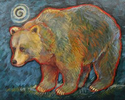 Night Bear Grizzly Bear Art Print