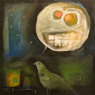 Tim Painting - Night Bird Harvest Moon by Tim Nyberg