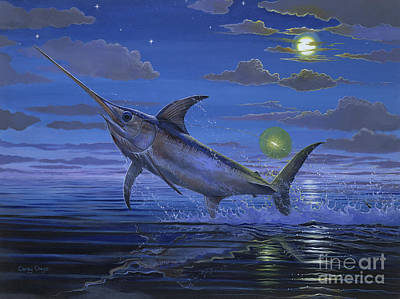 Shark Painting - Night Bite Off0066 by Carey Chen