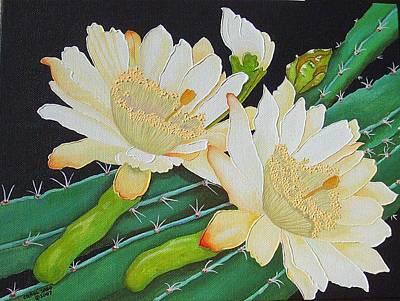 Night Blooming Cacti Art Print by Carol Sabo