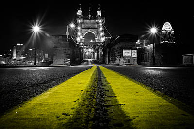 Selective Color Photograph - Night Bridge by Keith Allen