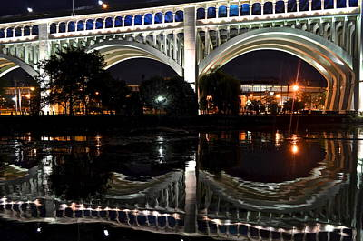 Photograph - Night Bridge by Frozen in Time Fine Art Photography
