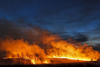 Scott Bean Rights Managed Images - Night Burn In The Flint Hills Royalty-Free Image by Scott Bean
