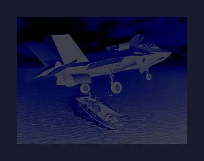 F 35 Strike Fighter Night Assault Carrier Landings Combat Conditions Us Marine Corps Art Print