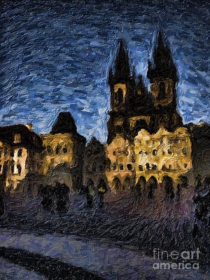 Prague Castle Painting - Night Castle by Andreas Konstantinidis