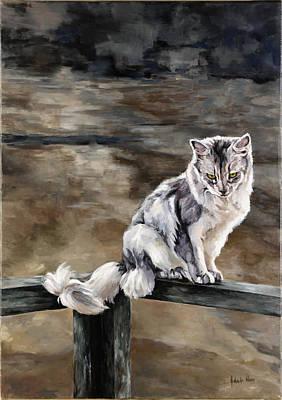 Night Cat Art Print by Jolante Hesse