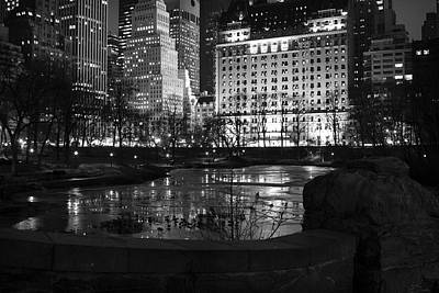 Photograph - Night Central Park Lake H by Dave Beckerman