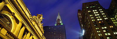 Grand Central Station Photograph - Night, Chrysler Building, Grand Central by Panoramic Images