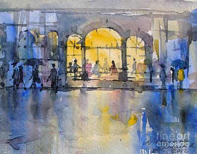 Cafe Painting - Night City by Natalia Eremeyeva Duarte