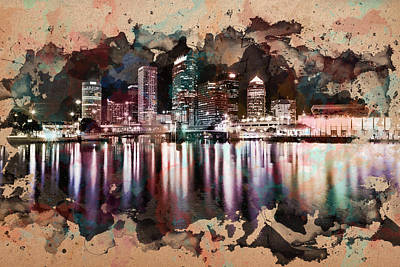 City Scape Digital Art - Night City Reflections Watercolor Painting by Georgeta Blanaru