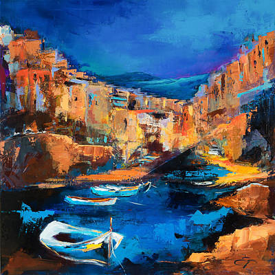 Landmarks Painting Royalty Free Images - Night Colors Over Riomaggiore - Cinque Terre Royalty-Free Image by Elise Palmigiani