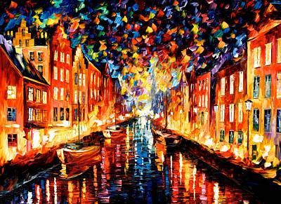 Night Copenhagen - Palette Knife Oil Painting On Canvas By Leonid Afremov Original