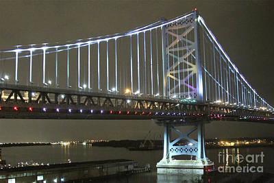 Ben Franklin Bridge Photograph - Night Crossing by Rick  Monyahan