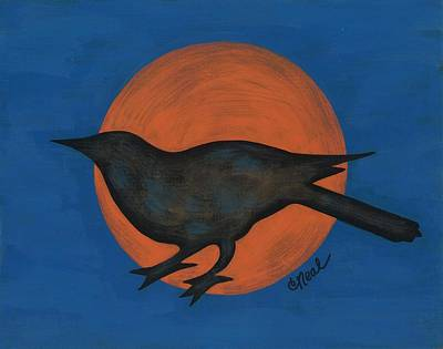 Painting - Night Crow On Blue by Carol Neal