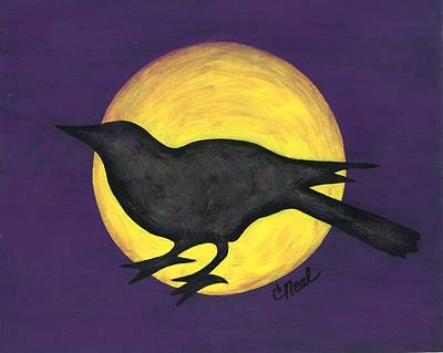 Painting - Night Crow On Purple by Carol Neal