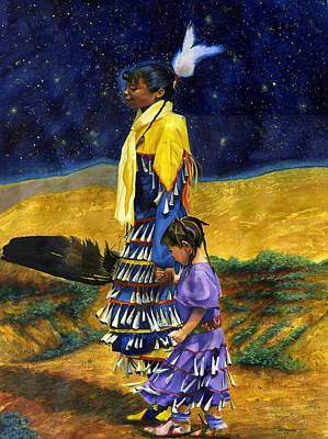 Indian Tribal Art Painting - Night Dance by Jacquelin Vanderwood