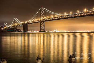 Night Descending On The Bay Bridge Art Print by Suzanne Luft