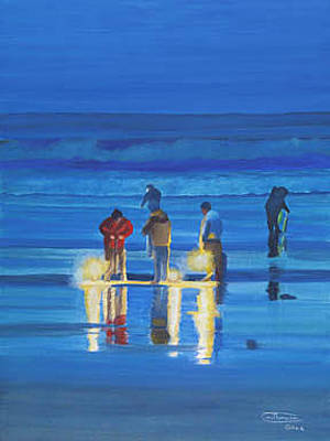 Razor Clams Wall Art - Painting - Night Dig by Carol Thompson