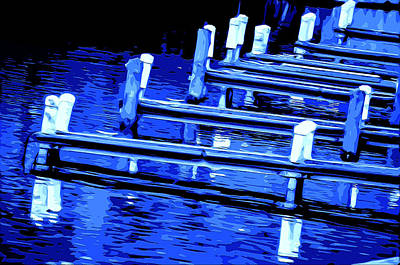Wooden Platform Mixed Media - Night Docks by Brian Stevens