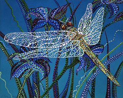 Animal Painting - Night Dragonfly by Erika Pochybova