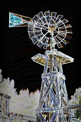 Night Drawing Windmill Antique In Color 3005.04 Art Print by M K  Miller