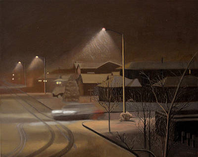 Snowscape Painting - Night Drive by Thu Nguyen