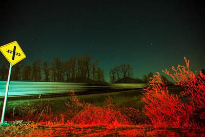 Merging Photograph - Night Express To Aurora by Eti Reid