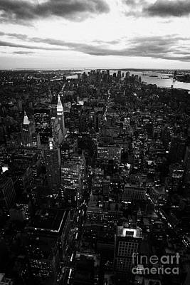 Night Falling Over Lower Manhattan New York City Art Print by Joe Fox