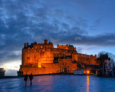 Castle Photograph - Night Falls On Beautiful Edinburgh Castle by Mark E Tisdale