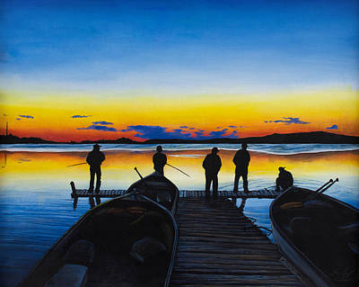 Painting - Night Fishing by Aaron Spong