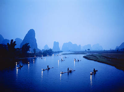 Night Fishing Guilin China Art Print by Panoramic Images