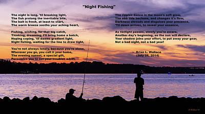 Night Fishing Digital Art - Night Fishing - Poem by Brian Wallace