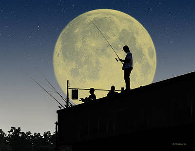 Night Fishing Digital Art - Night Fishing Silhouette by Brian Wallace
